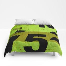 GRUNGE TECHNO V52m Typography | olive black Comforters
