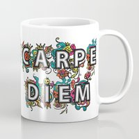 carpe diem Mugs featuring Carpe Diem by Digi Treats 2