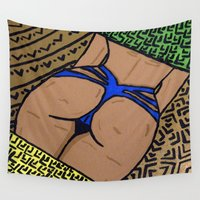 booty Wall Tapestries featuring Gold Booty by TheArtGoon