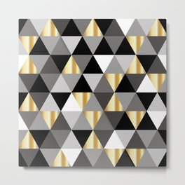 Black and Gold Abstract Wall Art. Modern Digital Art. Metal Print