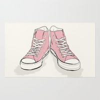converse Area & Throw Rugs featuring Pink Converse  by Michal Gorelick