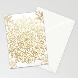 Beautiful White & Gold Mandala Pattern Stationery Cards