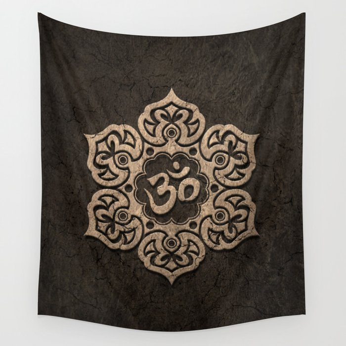 Aged stone lotus flower yoga om wall tapestry by jeffbartels society6 aged stone lotus flower yoga om wall tapestry mightylinksfo