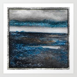 Blue Waves Abstract Watercolor Art Print