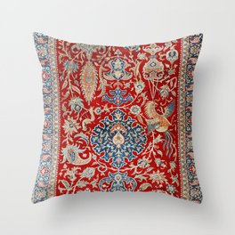Turkey Hereke Old Century Authentic Colorful Royal Red Blue Blues Vintage Patterns Throw Pillow