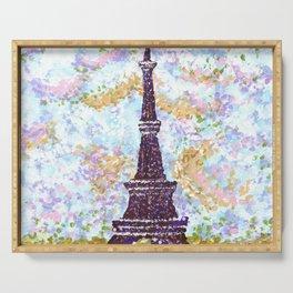 Eiffel Tower Pointillism by Kristie Hubler Serving Tray