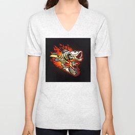 Fish skeleton flame Unisex V-Neck