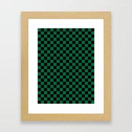 Black and Cadmium Green Checkerboard Framed Art Print