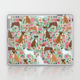 Boxer floral dog breed gifts for boxer lovers pet florals boxers must haves Laptop & iPad Skin
