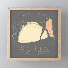 Faim Fatale | Naked Woman in Taco  Framed Mini Art Print