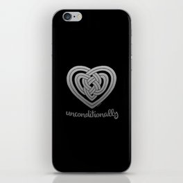 UNCONDITIONALLY in grey on black iPhone Skin