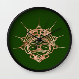 Copper Frog Grass Wall Clock
