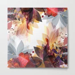 Abstract floral illustration with colorful foliage Metal Print
