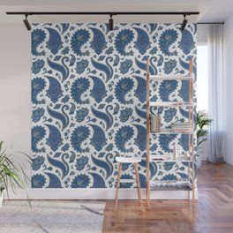 Classic Blue Paisley Wall Mural