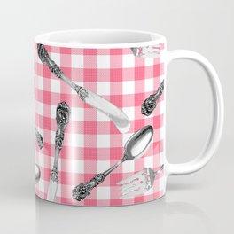 Utensils on Pink Picnic Blanket Coffee Mug