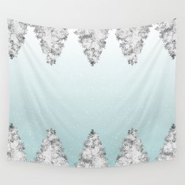 Snowy pine trees Wall Tapestry