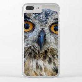 Handsome Eurasian Eagle Owl Clear iPhone Case