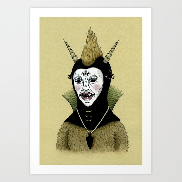 Creature with Black Amulet  Art Print