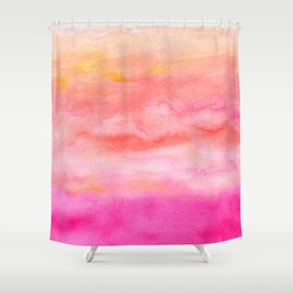 Bright pink orange sunset watercolor hand painted Shower Curtain