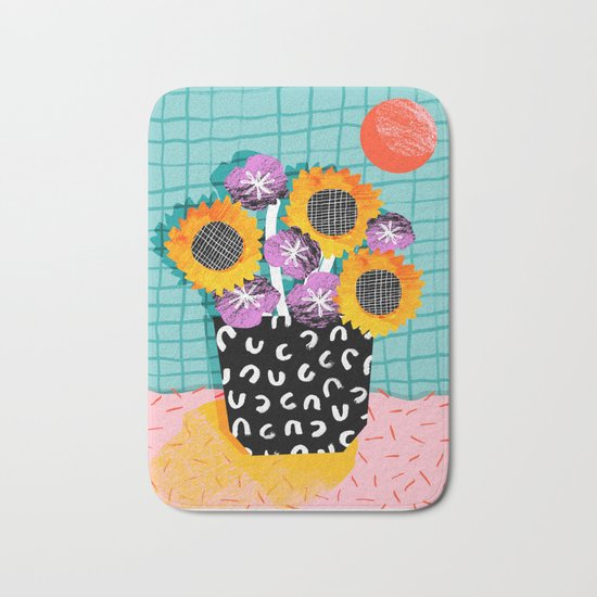 Wowsers - abstract retro throwback still life floral vase flowers grid memphis patterns Bath Mat
