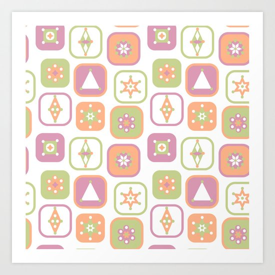 Abstract geometric pattern in pastel colors Art Print
