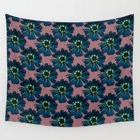 mercedes Wall Tapestries featuring Crowned Daisy in Mauve by Mercedes Olondriz