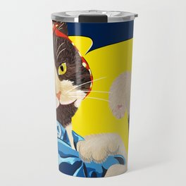 Rosie the Riveter Cat - We Can Do It! Travel Mug