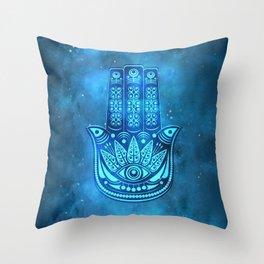 Hamsa Hand Magic Eye Blue Watercolor Art Throw Pillow