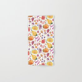 Autumn Harvest Pattern White Hand & Bath Towel