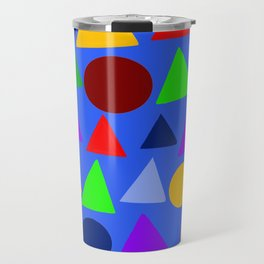 Circle and triangle variation on a design blue Travel Mug