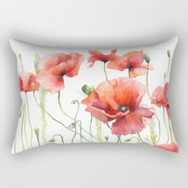 Spring Poppies Papaver Meadow Red Poppies White and Red Watercolor Rectangular Pillow