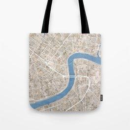 New Orleans Cobblestone Watercolor Map Tote Bag