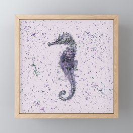 Purple Watercolor Seahorse Framed Mini Art Print