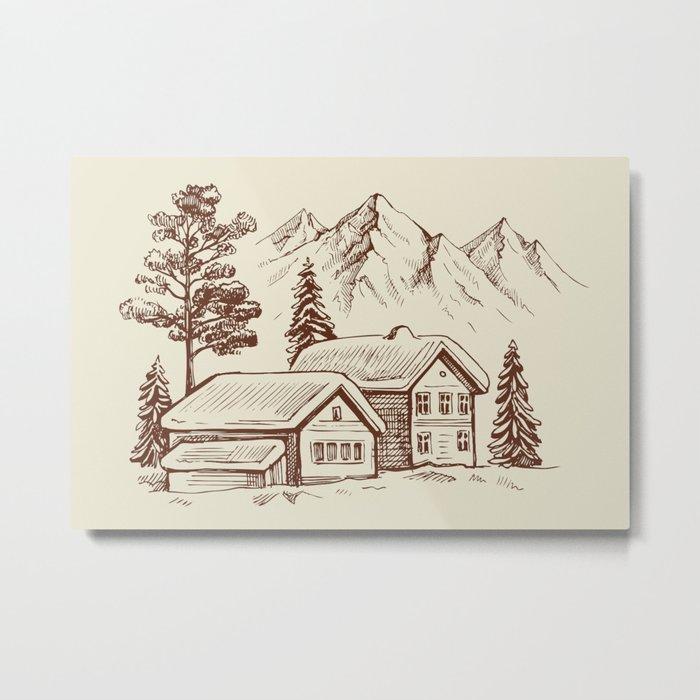 Wood Cabin in Winter Landscape Metal Print