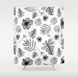 Hawaiian Hibiscus Flower and Tropical Leaf Pattern Shower Curtain