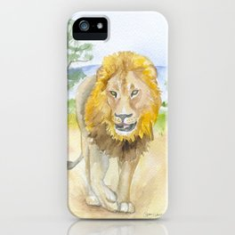 Lion in Africa Watercolor iPhone Case