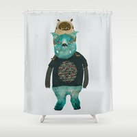 cookie monster Shower Curtains featuring cookie and big blue by bri.buckley