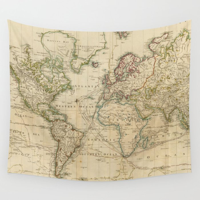 Vintage Map Of The World 1800 Wall Tapestry By Bravuramedia Society6