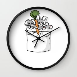 Cute Pocket Rabbits Wall Clock