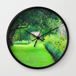 British country garden Wall Clock