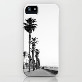 Playa de Valencia | Black and white photograph of the boulevard & beach | travel art iPhone Case