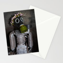 Household robot with gasmask Stationery Cards