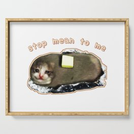 stop mean to me cat meme mash-up Serving Tray