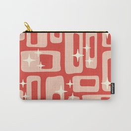Retro Mid Century Modern Abstract Pattern 129 Red and Beige Carry-All Pouch