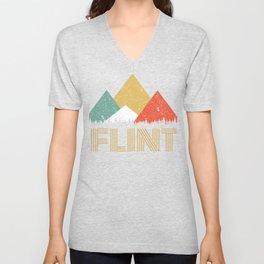 Retro City of Flint Mountain Shirt Unisex V-Neck