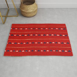 Triangles On Red Background Japanese Shima-Shima Pattern Rug