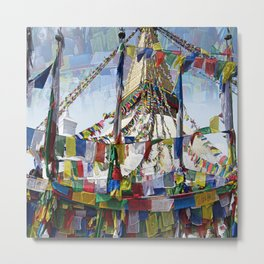 NEPALI PRAYERS CARRIED BY THE WIND FROM FLAGS Metal Print
