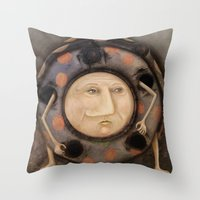 bug Throw Pillows featuring Bug by Fizzyjinks