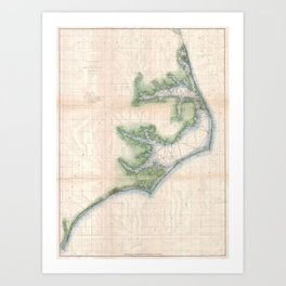 Vintage Map of The North Carolina Coast (1875) Art Print