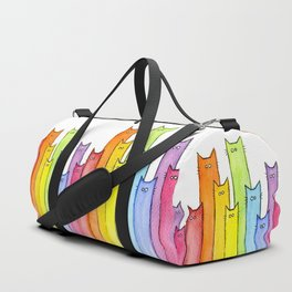 Cat Rainbow Watercolor Pattern Duffle Bag